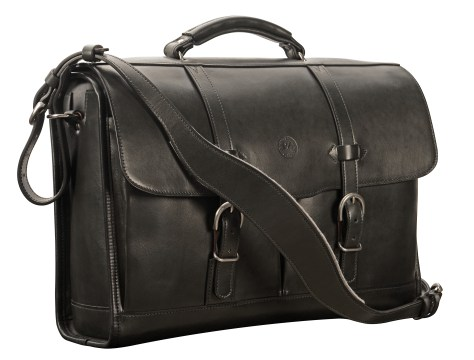Hand-burnished,-black-Flapover-Bag;-17-x-12-x-5'.6