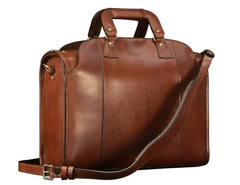 Hand-burnished-espresso-Deal-Bag-with-olive-green-grosgrain-lining;-17-x-12-x-7'-back