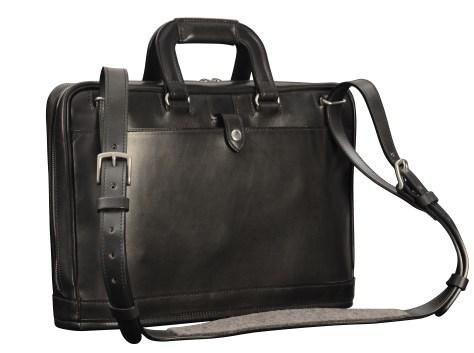 Hand-burnised-black-Platform-Portfolio-with-tangerine-grosgrain-lining;-15-x-11-x-4'-back