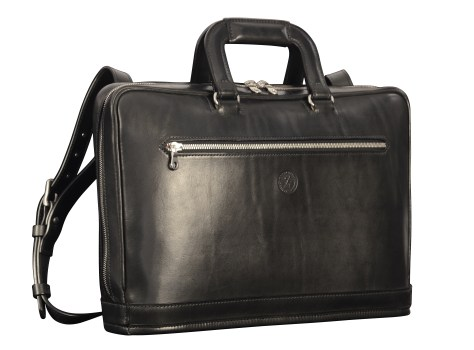 Hand-burnised-black-Platform-Portfolio-with-tangerine-grosgrain-lining;-15-x-11-x-4'