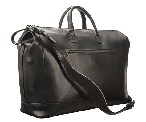 Hand-burnished,-black-Club-Bag-with-brass-hardware;-22-x-14-x-8'