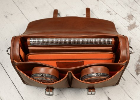 Hand-burnished,-espresso-Flapover-Bag-with-tangerine-grosgrain-lining;-17-x-12-x-4'-topdown1