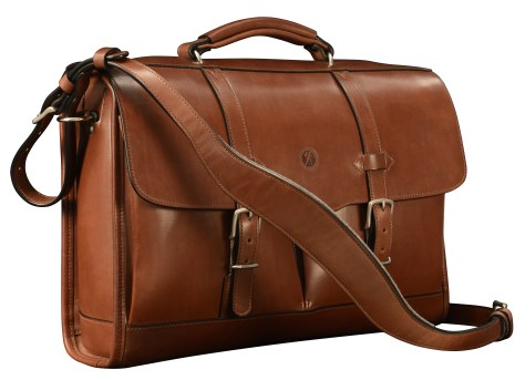 Hand-burnished,-espresso-Flapover-Bag-with-tangerine-grosgrain-lining;-17-x-12-x-4'