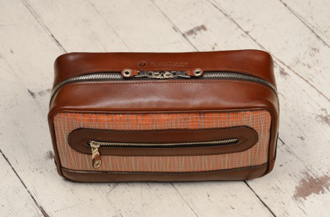 Hand-burnished-espresso-Teal-Travel-Kit-with-tangerine-grosgrain-lining-and-sailcloth-topdown1