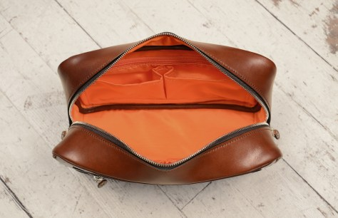 Hand-burnished-espresso-Teal-Travel-Kit-with-tangerine-grosgrain-lining-and-sailcloth-topdown2