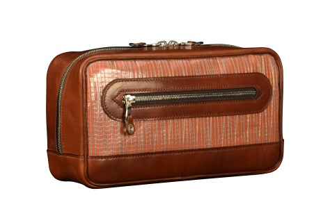 Hand-burnished-espresso-Teal-Travel-Kit-with-tangerine-grosgrain-lining-and-sailcloth
