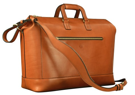 Hand-burnished,-handmade-chestnut-Club-Bag-with-turquoise-lining;-19-x-13-x-8'