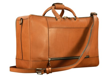 Hand-burnished-chestnut-Square-Duffel-with-zip-back-pocket;-20-x-13-x-8'-back