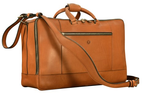 Hand-burnished-chestnut-Square-Duffel-with-zip-back-pocket;-20-x-13-x-8'
