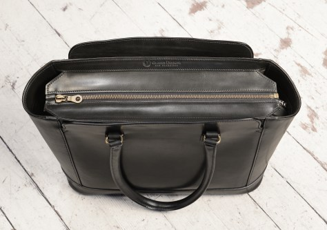 Hand-burnished-black-City-Tote-with-black-trim;-16-x-12-x-6'-topdown1