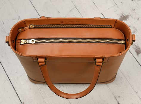 Hand-burnished,-chestnut-Business-Tote-with-handles-and-strap;-14-x-13-x-4'-topdown1