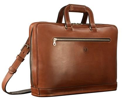 Hand-burnished-espresso-Platform-Portfolio-with-zip-back-pocket-and-shoulder-strap;-16-x-11-x-4'
