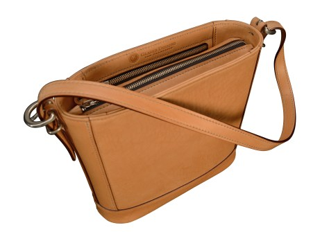 Hand-burnished-natural-leather-Shoulder-Bag-with-short-shoulder-strap-and-magenta-lining;-10-x-10-x-3'-topdown1