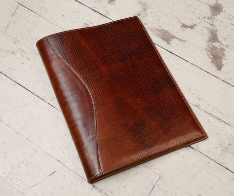 Hand-grained,-hand-colored-sienna-all-leather-Writing-Pad
