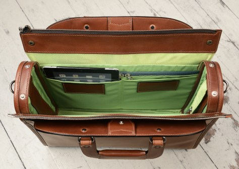 Hand-burnished-espresso-Deal-Bag-with-lime-green-lining;-18-x-14-x-5-topdown2
