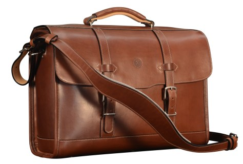 Hand-burnished-espresso-with-two-front-open-pockets,-natural-leather-trim-and-California-blue-lining;-17-x-12-x-5