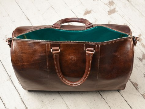 Hand-grained-hand-colored-olive-brown-Duffel-Bag-with-turquoise-lining;-19-x-13-x-9-topdown2