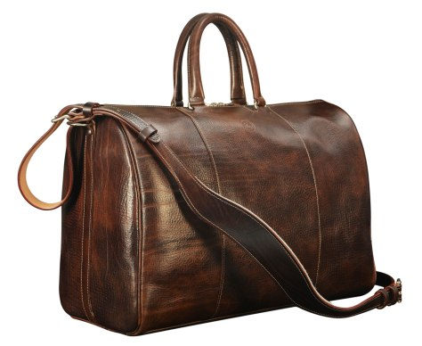 Hand-grained-hand-colored-olive-brown-Duffel-Bag-with-turquoise-lining;-19-x-13-x-9