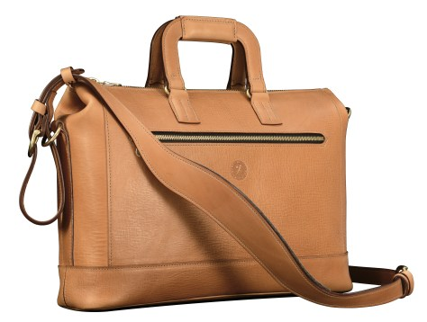 Hand-grained-natural-leather-Club-Bag-with-tangerine-grosgrain-lining;-16-x-10-x-4