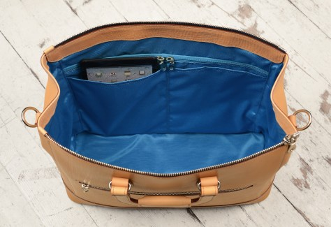 Natural-leather-Club-Bag-with-California-blue-lining-and-square-handles;-16-x-9.5-x-6-topdown2