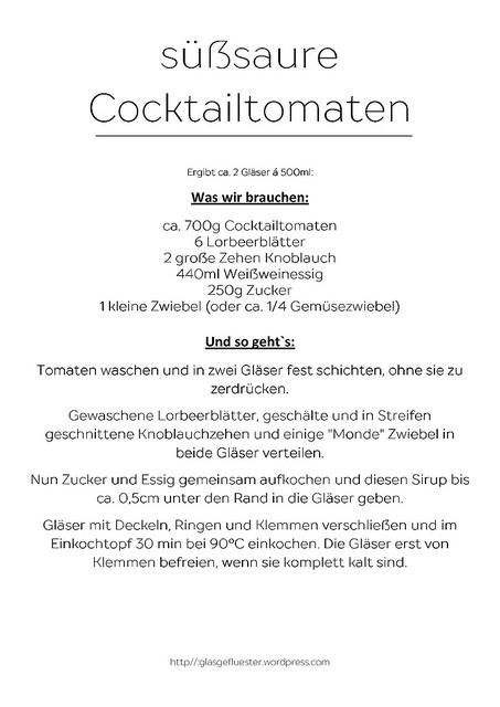 Rezept für süßsaure Cocktailtomaten
