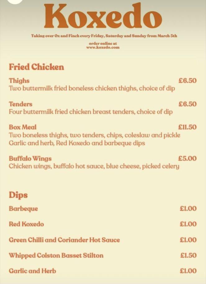 Koxedo Glasgow fried chicken menu