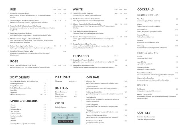 Lucali by Andiamo Giffnock - drinks menu