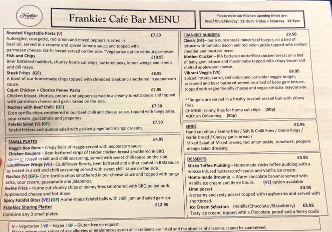 frankiez cafe bar barrhead menu