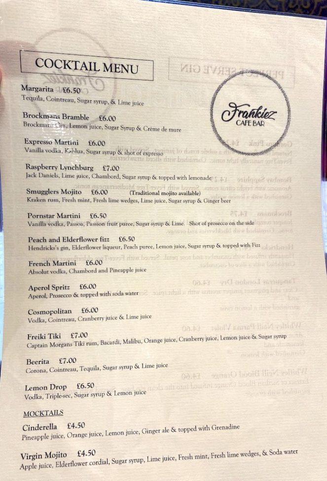 frankiez cafe bar barrhead drinks menu