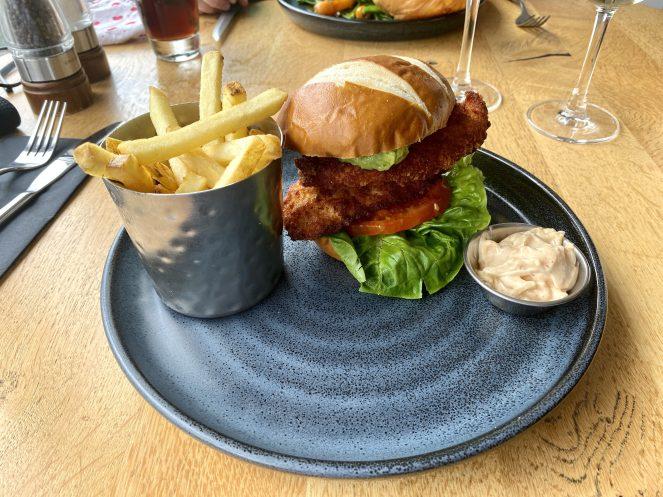 Chicken schnitzel burger Loks bar and kitchen shawlands