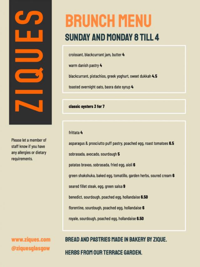 ziques glasgow west end brunch menu