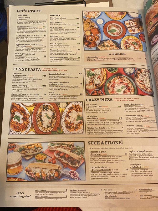 Doppio Malto food menu