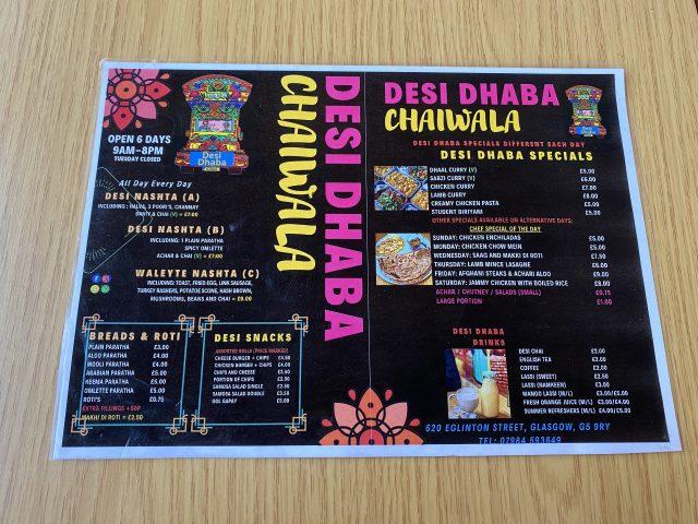 Desi Dhaba Chaiwala menu