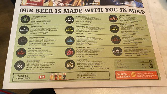 Doppio Malto Glasgow beer menu
