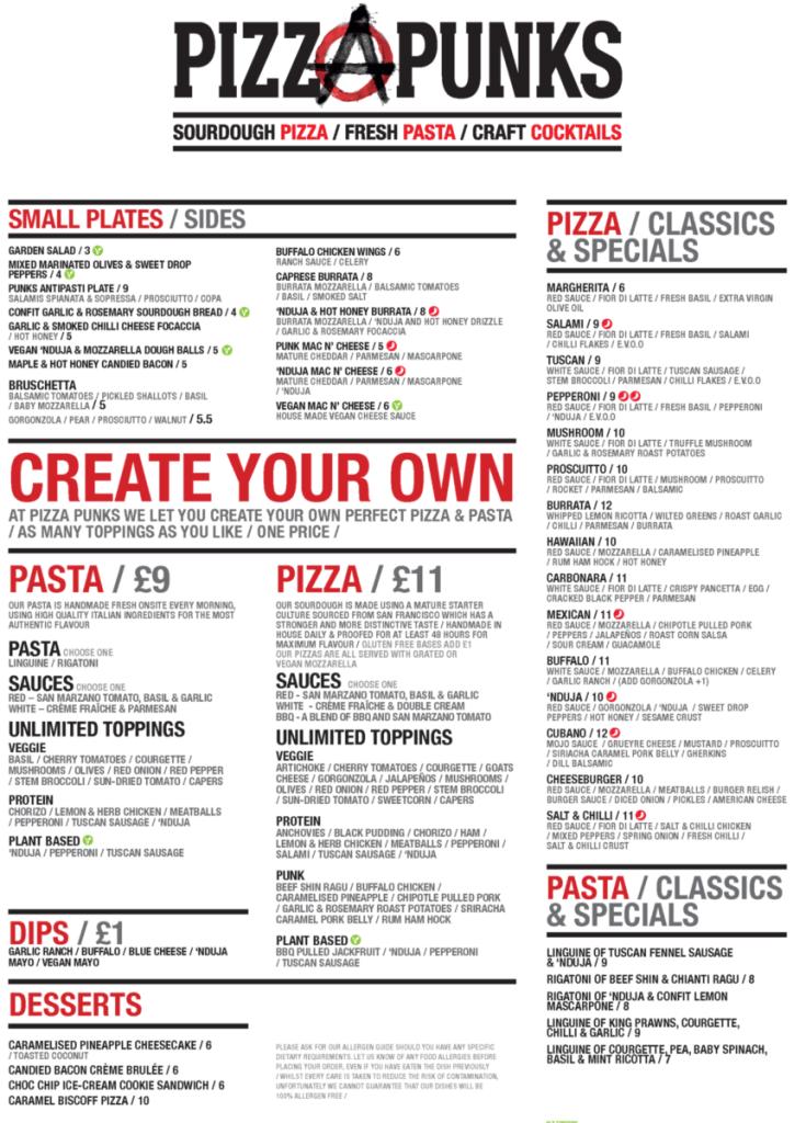 Pizza pinks new menu