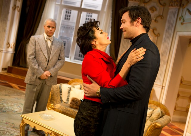 Gary Wilmot as Anthony, Lisa Maxwell as Judy Garland and Sam Attwater as Mickey in End of the Rainbow. Pamela Raith Photography