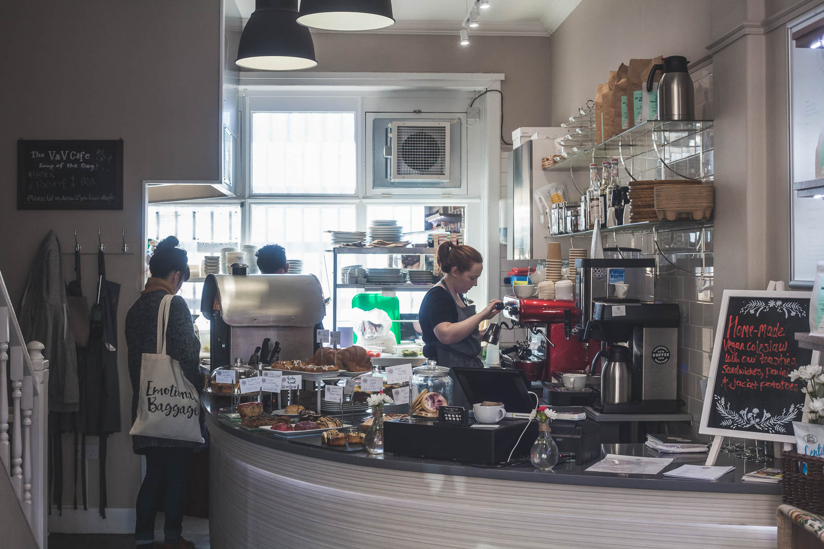 The V&V Cafe is a fully vegan cafe in the West End of Glasgow. With a range of breakfast and lunch items, a great selection vegan cakes and a varied takeaway and retail offer, the V&V Cafe Glasgow has quickly become a favourite among locals and students of the area alike!