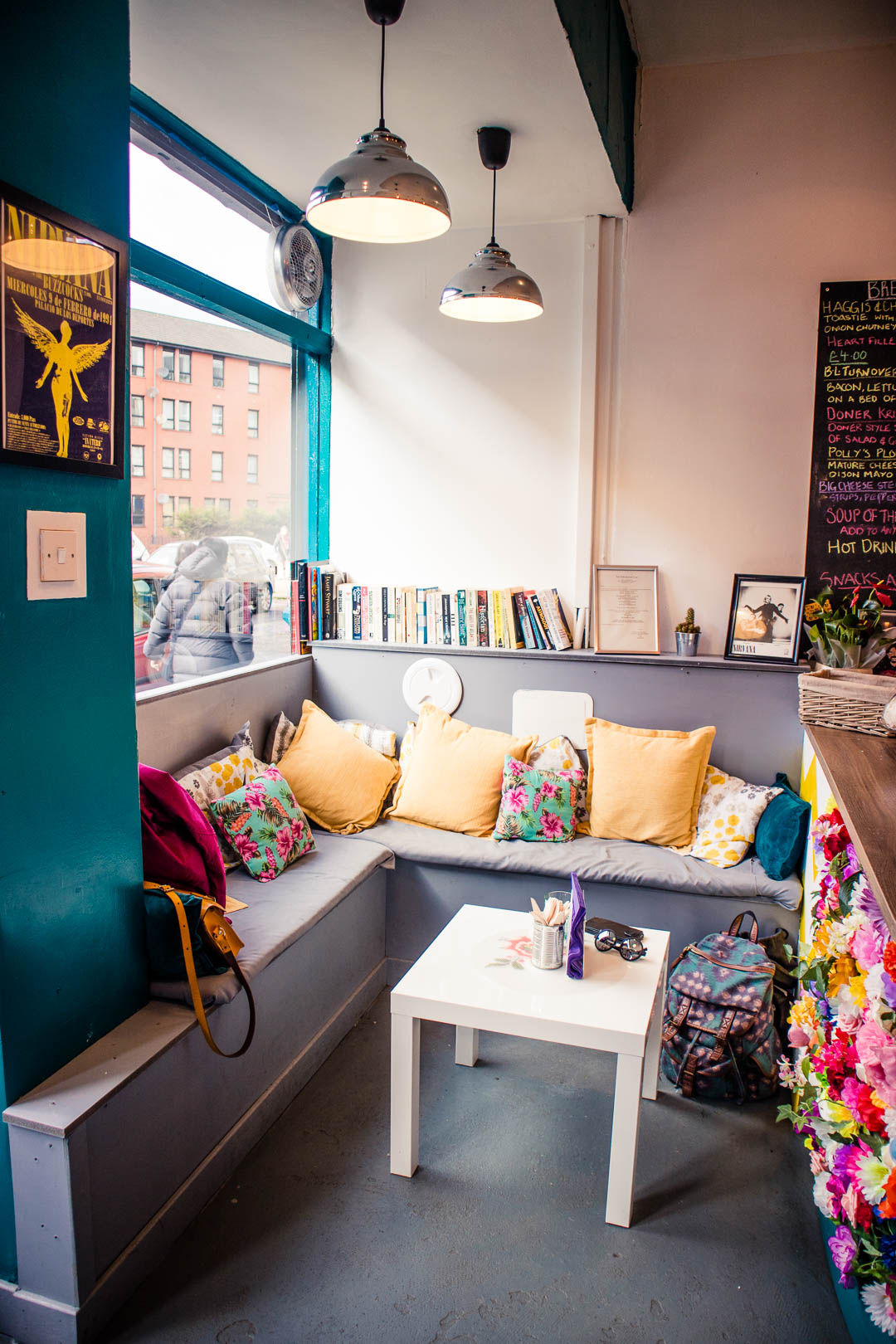 The cosy corner at In Bloom Glasgow - perfect for a Nirvana-inspired brunch or afternoon coffee.