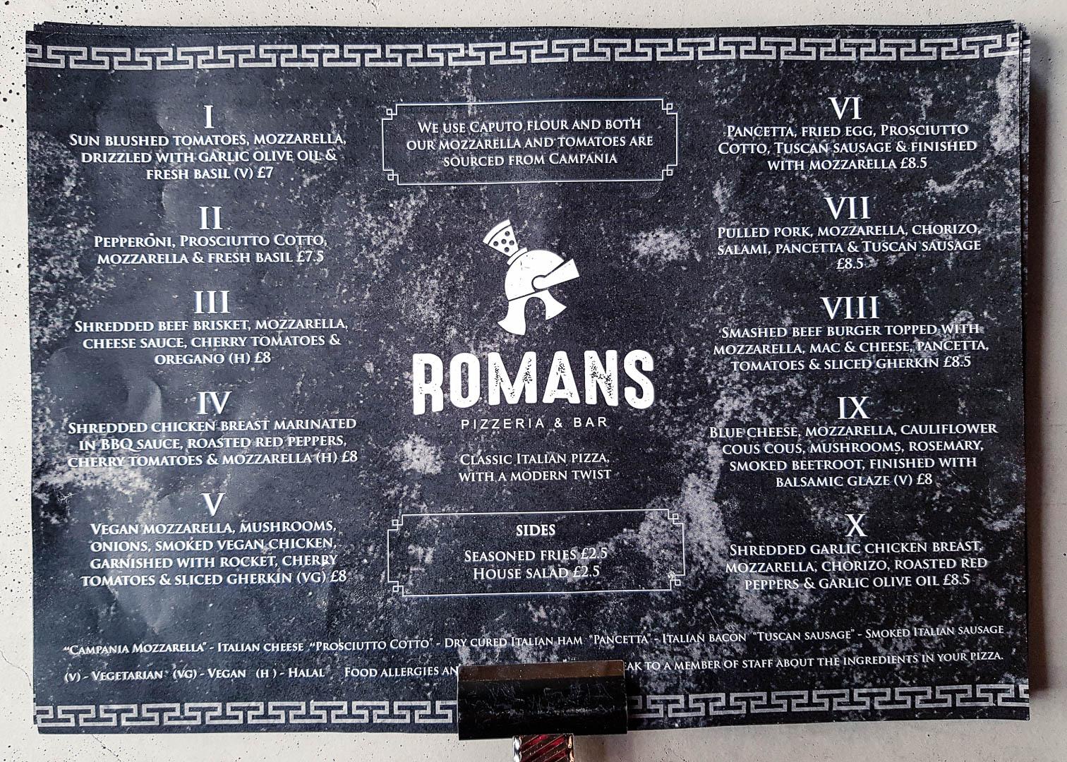 The full menu at the new vegan-friendly restaurant Romans Pizzeria Glasgow.