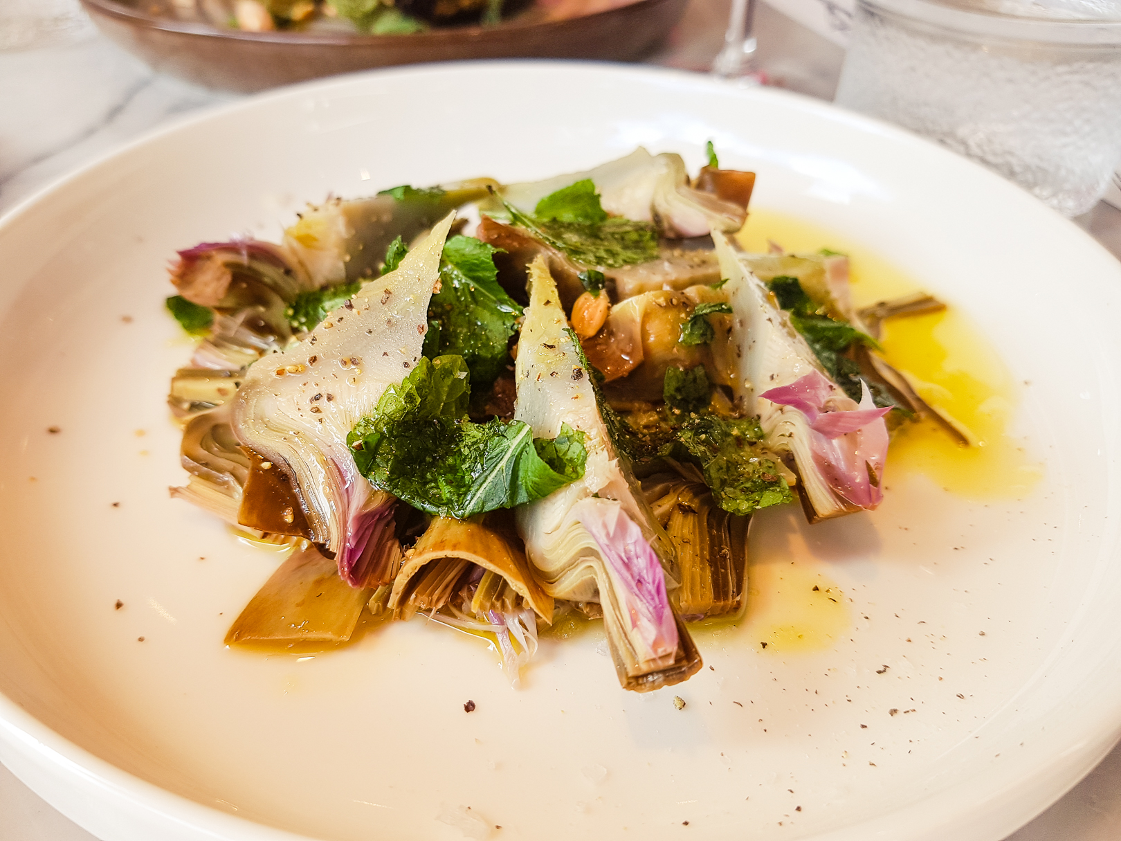 Artichoke, mint and lemon salad at Eusebi Deli in Glasgow.