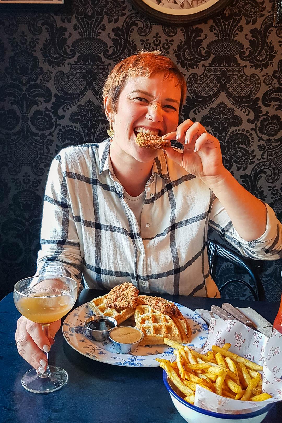 Vegan chicken waffles and burgers at Absurd Bird Glasgow