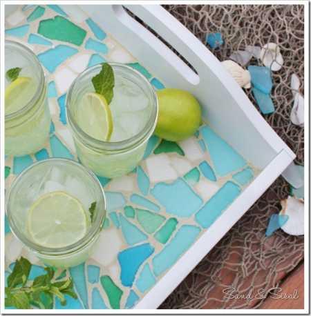 Sea Glass Mosaic Tray