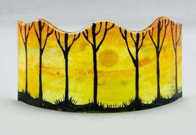 Fused glass mini panel of sunset with silhouetted trees