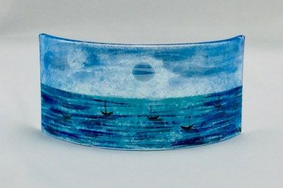 Mini fused glass panel of moonlit sea with boats