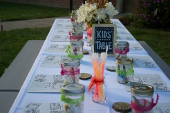Shannon wanted the kids to have an unforgetable night and it started with her Kid's Table, with #22YearsInTheMaking place mats, mason jars, glow sticks and coasters