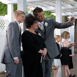 Rev. Lynnette Gergich, Brady and I taking a last-second selfie before the ceremony