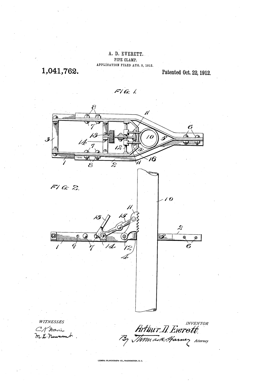Pipe Clamp - Patent US1041762-0