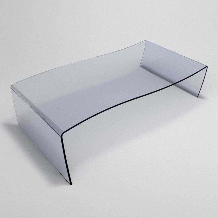 slalom wavey glass coffe table