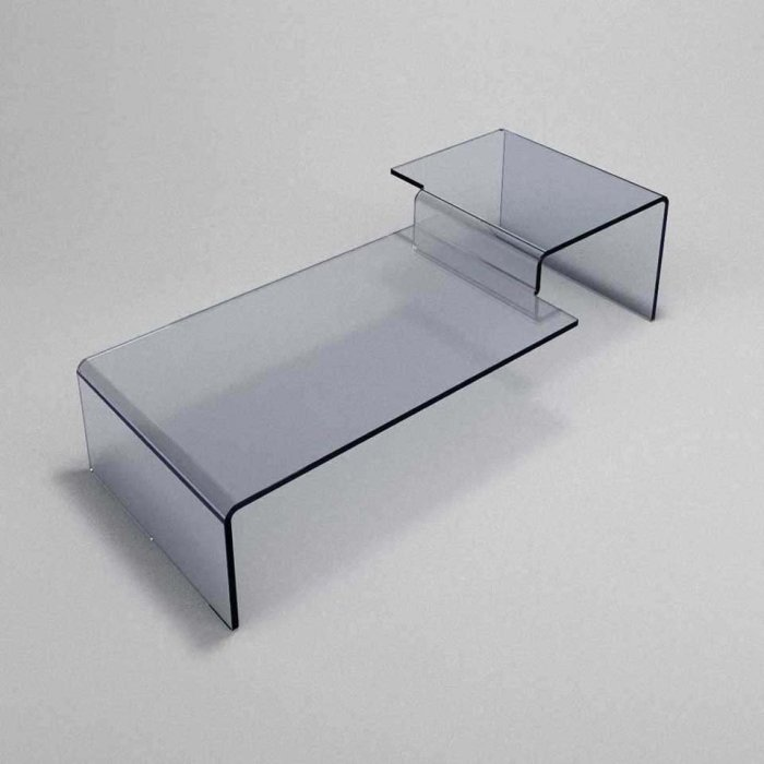 two tier glass coffee table scalino two level glass table