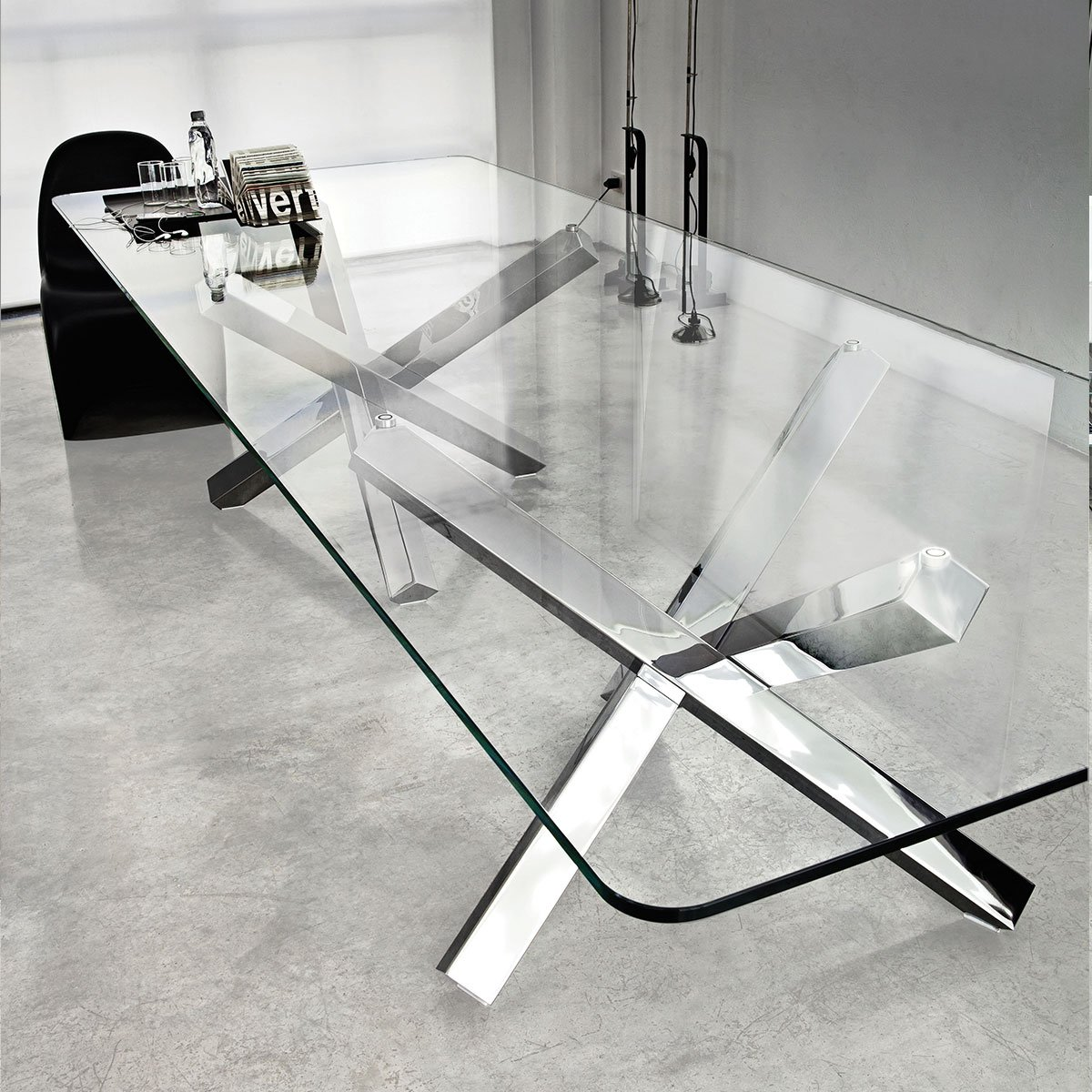 aikido large glass dining table